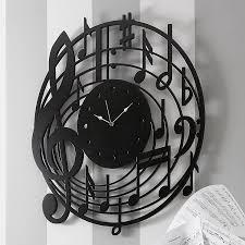 design black wall clock in round wood