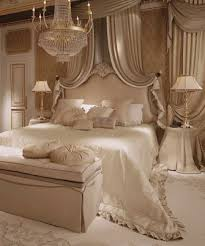 Glamorous Bedroom In Champagne Tones And Chandelier.