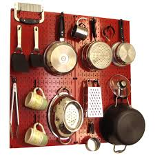 wall control kitchen pegboard 32 in x 32 in metal peg board pantry organizer kitchen pot rack with red pegboard and black peg hooks 31 kth 210 rb the