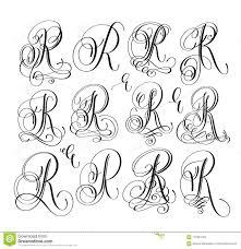 Lettering Letters Design Calligraphy Lettering Script Font R Set Hand Written Stock