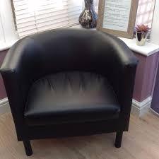 ikea black faux leather tub chair