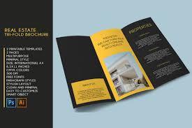 Tri Fold Samples Trifold Real Estate Printable Brochure Templates Psdai A4