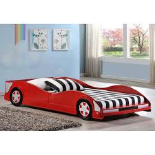 Dresden Twin Size Race Car Bed Low Profile Red