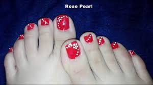 Toe Nail Designs Flowers Red Dotted Flower Toe Nail Art Tutorial No Tools Toenail Art Design Rose Pearl