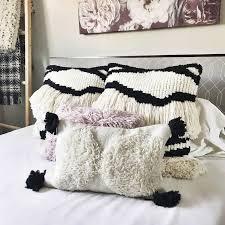 pom pom pillow. Modren Pillow Justina Blakeney IvoryBlack Wool Pom Pillow And
