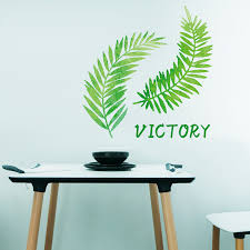 green plant leaves wall stickers home decor removable bedroom wall dec