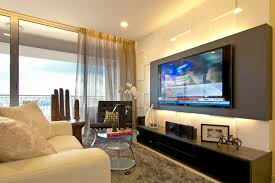Wonderful Apartment,Inspirational Living Room Decorating Apartment Ideas With Modern  TV Wall Unit And Grey Sheer Curtain Featuring White Single Sofa And Unique  Wooden ...