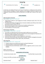 Resume Cv Sample For Auditor Jobsdb Hong Kong