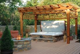 patio designs with fire pit and hot tub. Awesome Hot Tubs For Decorating Outdoor In Your Home: Backyard With And Patio Designs Fire Pit Tub N