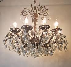 12 arm aged brass crystal chandelier rewired c 1900 1 of 11