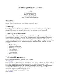 Resume Examples For Hotel Management Perfect Resume Format