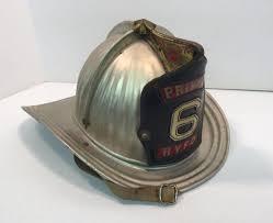 vintage metal cairns fire helmet leather front shield private 6 hvfd