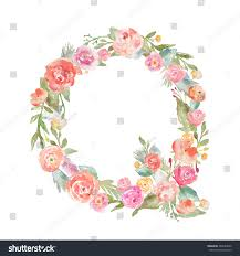 Watercolor Flower Alphabet Letter Q. Monogram Letter Q Made of Flowers