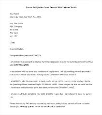 Two Weeks Notice Letter For Daycare Resignation Letter 2 Week Notice Example To Sample Two For