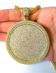 mens iced out hip hop gold round cz medallion pendant 36 franco chain necklace
