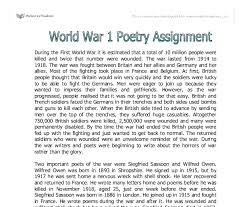 world war poetry a level english marked by teachers com document image preview