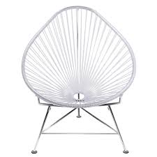 silver brushed metal chair woven. Baby Acapulco Chair Silver Brushed Metal Woven