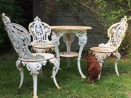 garden furniture table 3 chairs metal