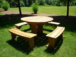 give a little enhancement for your outdoor space with round picnic table the new way home decor