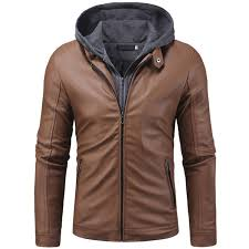 double zipper access men s casual slim knit hooded leather jacket coffee 2xl