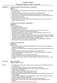 Supervisor Resume Sample Free Electrical Foreman Resume Samples Free Electrical Supervisor Resume