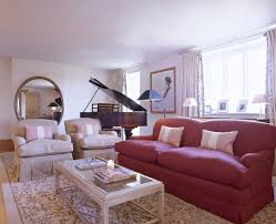 Red White Contemporary Traditional Living Room Living Room Design