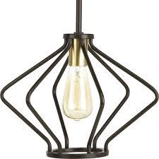 cage pendant lighting. Hangar 1-Light Cage Pendant Lighting, Antique Bronze P500115-020 | Elite Fixtures Lighting