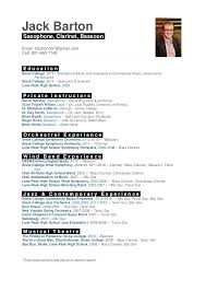 Performance Resume Template Musical Theatre Resume Template Musician