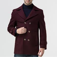 mens double ted suit collar casual long woolen trench coat