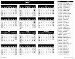 Microsoft Excel Calendar 2020 2020 Calendar Excel Templates Printable Pdfs Images