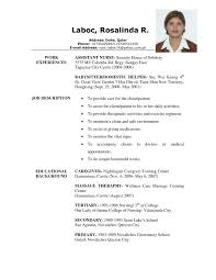 Example Of Caregiver Resume Free Resume Templates