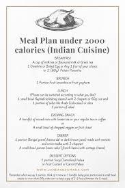 Meal Plan Under 2000 Calories Indian Cuisine Under 2000