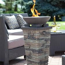propane outdoor fire column fire pit with fire glass fire pit column