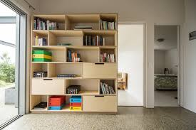 home and office storage. Plywood Bookshelf, Storage And Home Office Combined Together.