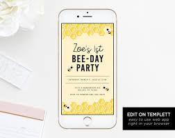 Electronic Birthday Invite Bee Day Electronic Invitation Template Bumble Bee Birthday