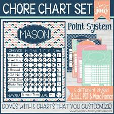 Point System Chore Charts Navy Printable My Computer Is