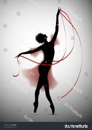 ballerina ribbon vector ballerina silhouette red dress ribbon vector