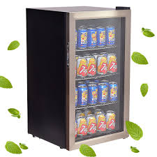 costway 120 can beverage refrigerator beer wine soda drink cooler mini fridge glass door 1
