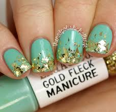 Kelli Marissa: LAQA & Co. Gold Fleck + Green Manicure Duo Nail Art