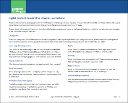 industry analysis template content toolkit digital content competitive analysis template