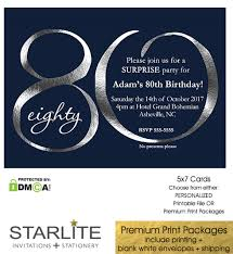 Navy And Silver 80th Birthday Invitation Modern Number