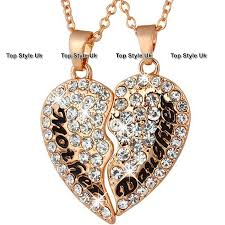 details about rose gold jewellery mother and daughter necklaces crystal heart gifts for her s1