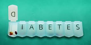 diabetes cations pill box spelling out diabetes over green background