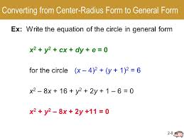 converting from center radius form to general form