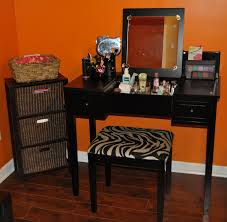 black makeup vanity furniture set with lighting