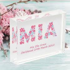 flowers name crystal personalised flower bridesmaid new baby or christening gift