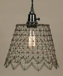 Wire Pendant Light Primitive French Chicken Wire Swag Lamp Lamp Shade Pro