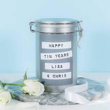 anniversary present personalised tin 10th anniversary gift personalised