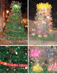 Christmas Trees Made of Recycled Bottles in Portugal. Portugal