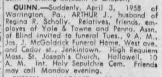 Arthur J (Arthur Felix?) Quinn Death Notice - Newspapers.com